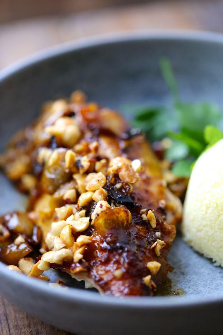 Super poulet roti aux épices, noisettes et miel