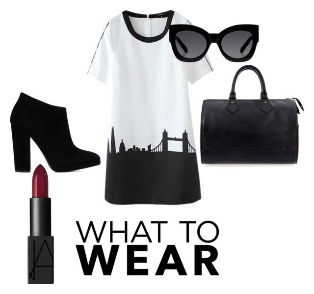 """Shift dress with edge"" by taniamin on Polyvore featuring Giuseppe Zanotti, Louis Vuitton, Karen Walker, NARS Cosmetics, blackandwhite, shiftdress and blackancklebootie"