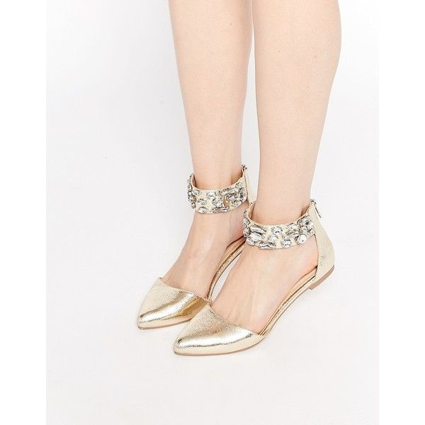ASOS LIMELIGHT Embellished Pointed Ballet Flats ($46) ❤ liked on Polyvore featuring shoes, flats, gold, pointed ankle strap flats, pointed-toe ankle-strap flats, ballet flats, ballet pumps and pointy toe ankle strap flats