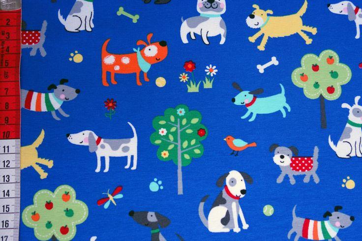 Stoff Tiermotive - Blauer Jersey Hunde Little Darling - ein Designerstück von Kinderglueckstoffe bei DaWanda