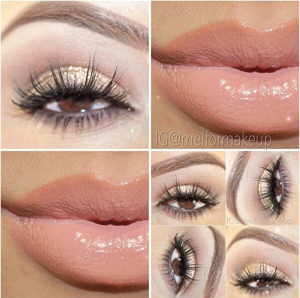 Sparkly brown eyes makeup look