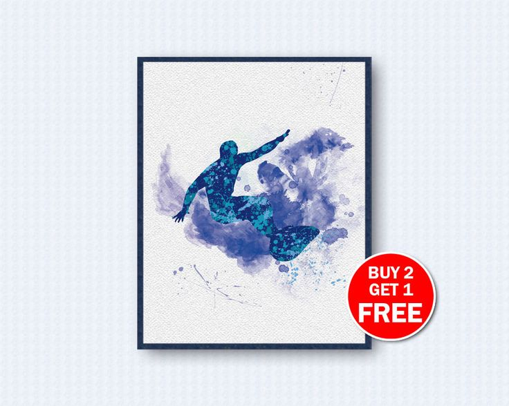 Surf Poster, Surf Watercolor, Surfing Poster, Surfing Watercolor, Sport Poster, Sport, Watercolor Art, Wall Decor, Home Decor by TheWoodenKat on Etsy