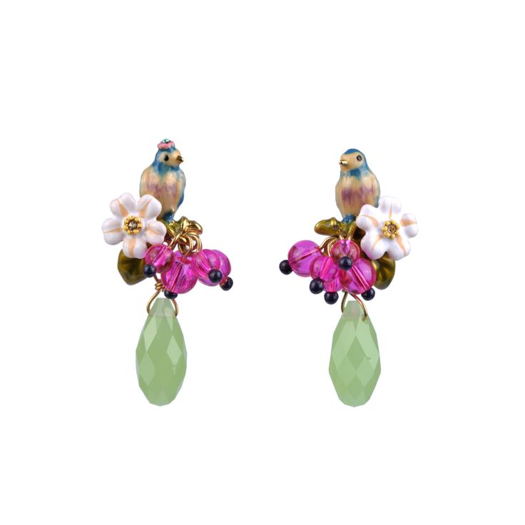 Collection Jardin d'Amour http://shop.lesnereides.com/earrings/2864-couple-of-tits-with-beads-and-drop-stud-earrings-3700377792207.html