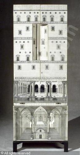 Gio Ponti designed, Fornasetti decorated Architettura Trumeau