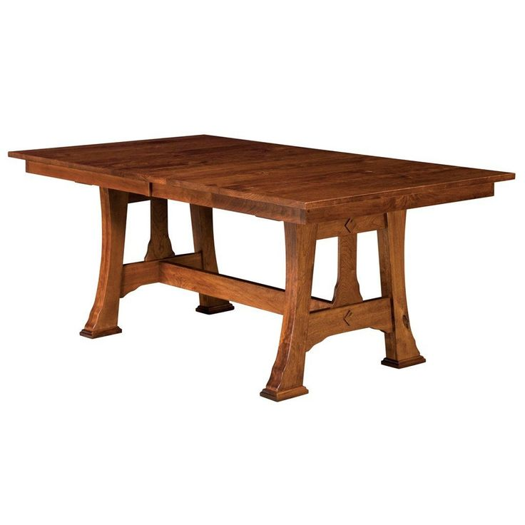 Solid Oak, Maple, Cherry and Quarter Sawn White Oak dining tables are made in the USA. The Cambridge Trestle is an extension table with quality finishes.
