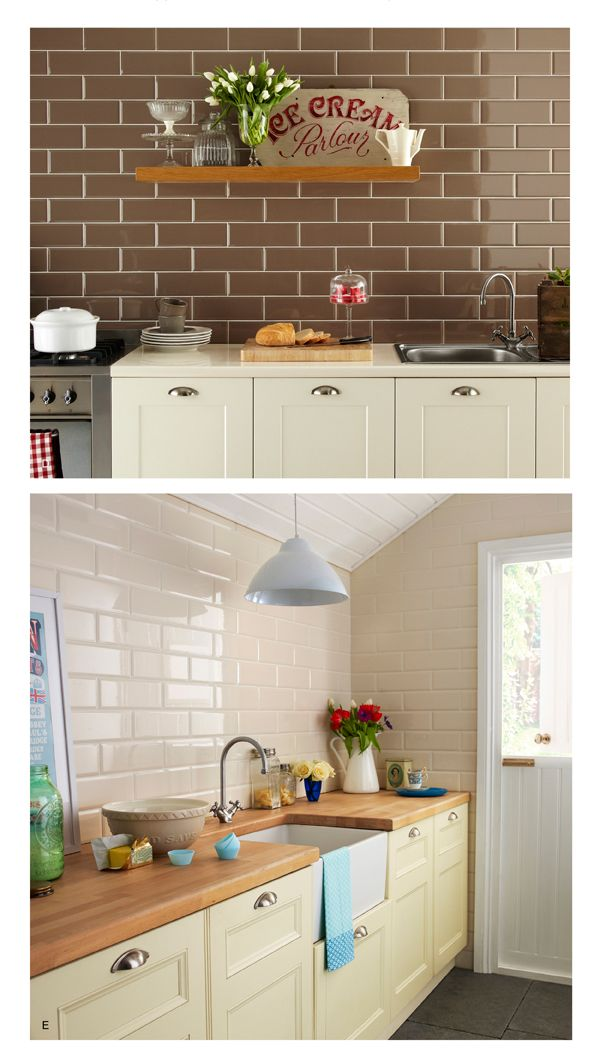 White Metro Brick Tiles, cream cupboards with wood counter top, country cottage kitchen made cosy