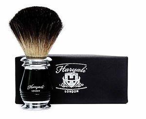 a perfecto para el brocha de afeitar hecho con negro puro pelo de tejon en negro y metal