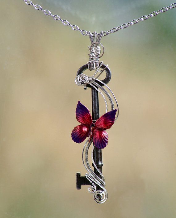 Antique Skeleton Key Butterfly Necklace, wire wrapped skeleton key, coiled wire, purple and red butterfly