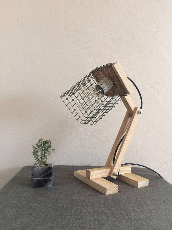 Desk oak lamp/Wooden lamp/Oak lamp/Modern lamp desk/Table