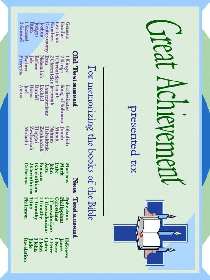 books of the bible certificate- cute idea Could make your own with church name, etc.
