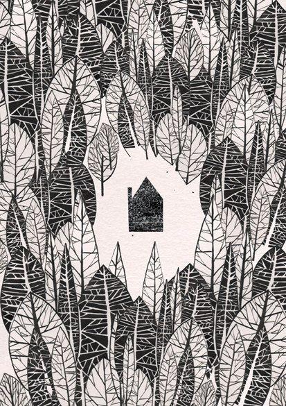 In the Woods illustration print van JustineHowlett