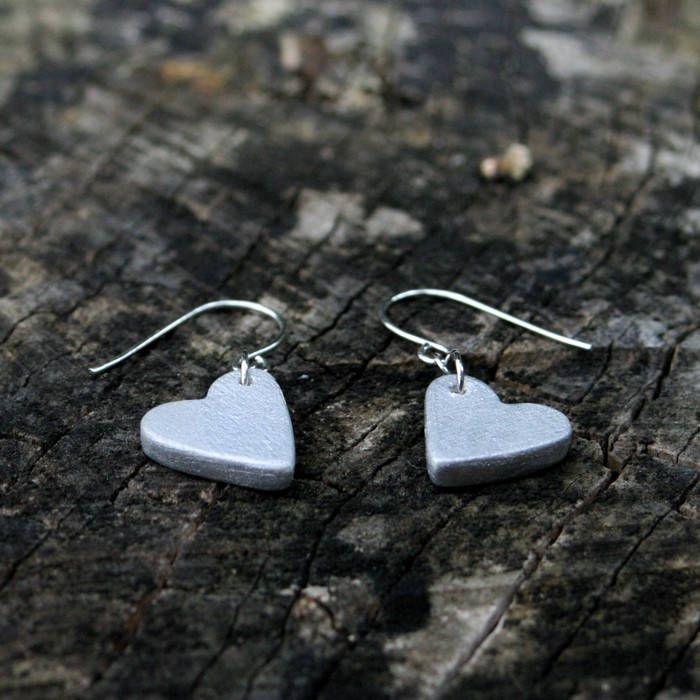 Ceramic heart mini silver earrings by Brekszer on Etsy