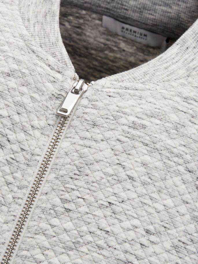 Diamond quilt light grey baseball sweatshirt   JACK & JONES