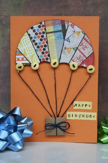 """Happy Birthday"" card by Shari Thurman  Very clever. I looked ALL OVER town for a parachute sticker for my son's birthday card. If I  only had an imagination!!!!"