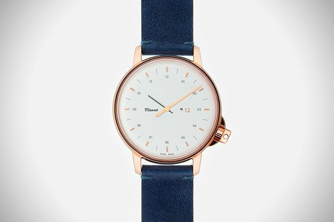 Miansai became the darling of the fashion world a few years back, when people couldn't get enough of its preppy rope bracelets. Miansai since expanded to create additional wristwear in the form of watches, and we're not complaining.   The M12 Swiss Rose watch sports a high-class look with a low-profile, rose gold accents, classic white face, and blue Italian leather vintage strap (which is cut on an angle at the end for extra flare), which would pair excellently with a tailored navy suit.