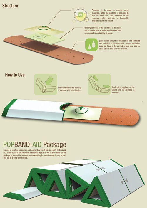 ワンタッチで貼付け・薬を塗れる絆創膏「Popband-aid」