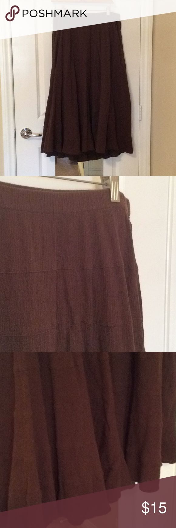 Liz & Me Milk Chocolate Brown Long Skirt Gently worn, Liz & Me milk chocolate brown long skirt.  100% cotton with elastic waist.  Greta the condition.  Layered look and very flowing. Liz & Me Skirts A-Line or Full