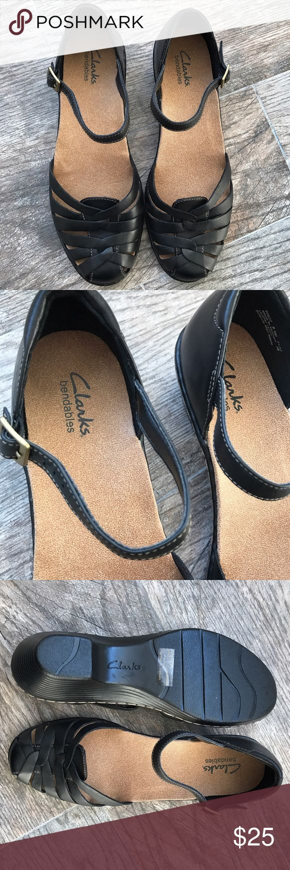 Clarks Bendable Black Leather Slingback Sandals Clarks Bendable Black Leather Slingback Sandals. These sandals have never been worn. Size 6.5. If you have ever worn Clarks before, then you know how comfortable they are to wear. Clarks Shoes Sandals