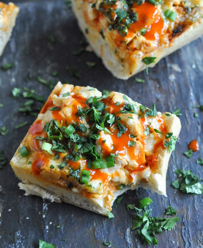 Buffalo Chicken French Bread- totally making this for dinner this week!