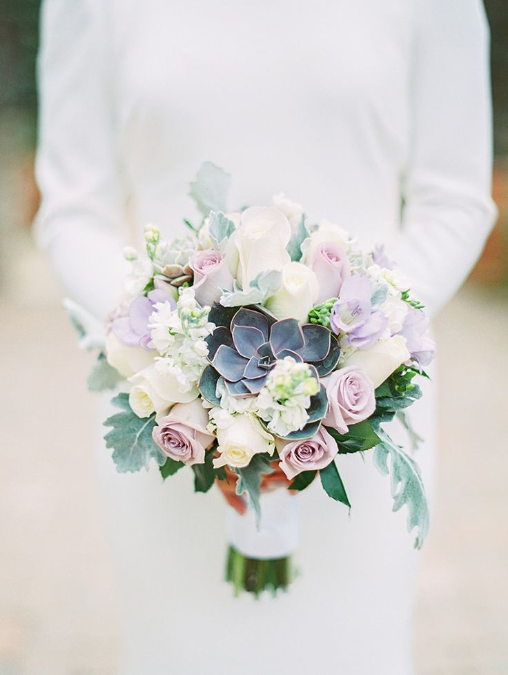 whiteand lavender bouquet with succulents, long sleeved wedding dress - Melissa Jill Photography