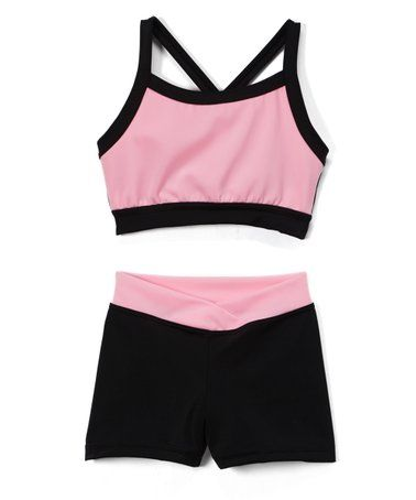 20ea3301164 Love this Pink & Black Crop Top & Crossover Shorts - Toddler & Girls ...