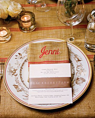 """Rustic Menu Card  Simple menu cards for a farm wedding sit atop French grain-sack """"lapkins"""" embroidered with each guests' name"""