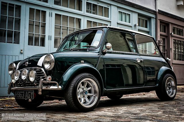 My realistic dream car. 1960's Mini in British Racing Green, white stripes and a rally kit. One day.