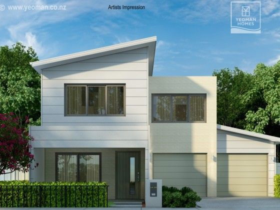 Yeoman Homes Hamilton NZ 2 storey home Rototuna. Monopitch house. Double garage.