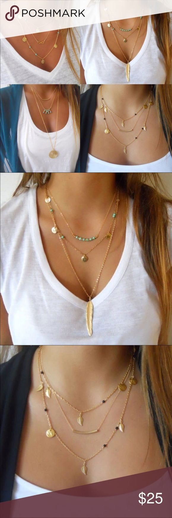 Fashion Boho's Simple 3 Layer Gold Plated Chains. 3 Layer gold plated Chain Necklaces. 6 in stock.: 2 Turquoise beads Feather Pendant Tassel Necklaces, 2 turquoise beads pendant tassel necklaces and 2 black beads pendant tassel necklaces. $25 each. Please tell me which one you want 💛💛💛. Jewelry Bracelets