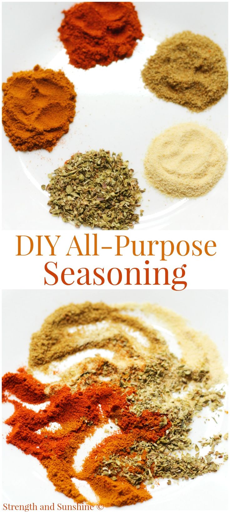 DIY All-Purpose Seasoning + Pantry Supplies Storage Hacks | Strength and Sunshine @RebeccaGF666 A perfect DIY All-Purpose Seasoning recipe, gluten-free, salt and sugar-free, that will spice up any dish! Plus some trendy hacks for traveling, transporting, storing and organizing all you small pantry cooking and baking essentials! #storagewithstyle #Pmedia @creativeoption ad