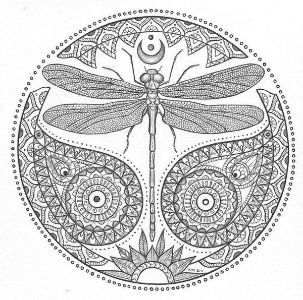 Mandalas Dragonfly Coloring