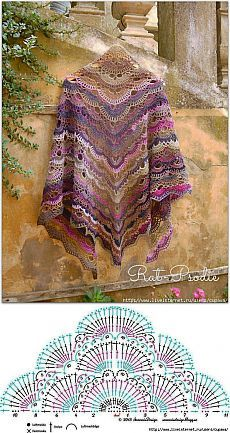 Beautiful Shawl - Free Crochet Diagram
