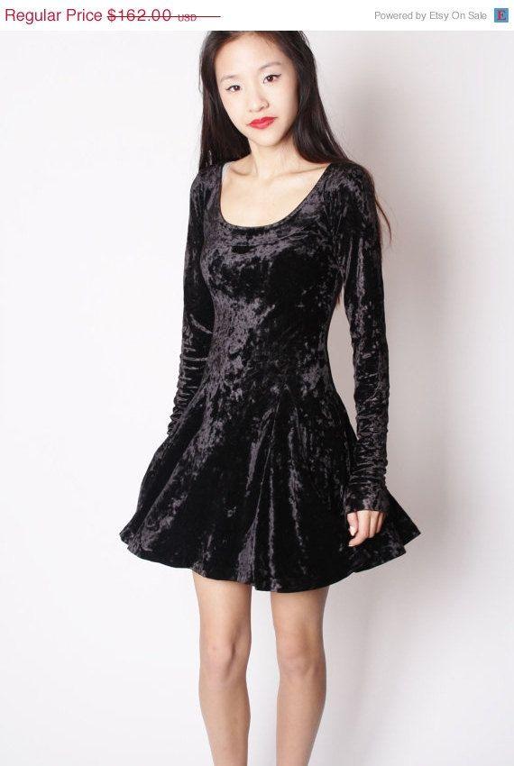 30% off SALE Designer Vintage 90s Black Crushed Velvet Betsey Johnson Skater  Dress   Short Black Dress   90s Soft Grunge Skater   Betsey J o… 4c69107bf615