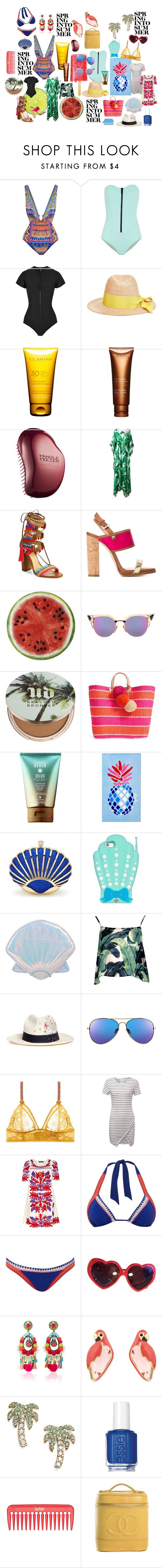 """""""Just Cant Get Enough"""" by sveaw on Polyvore featuring Camilla, Lisa Marie Fernandez, Federica Moretti, Clarins, Tangle Teezer, Dolce&Gabbana, Schutz, Dsquared2, Round Towel Co. and Fendi"""