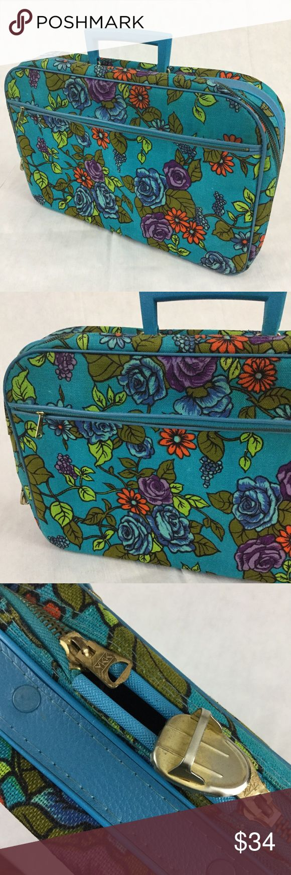 "Vintage floral daytrip weekender suitcase 60's Unique floral flower power printed vintage suitcase from the 60's. Minor spots as pictured from use over the years and the zipper no longer latches closed as one half of the lock is gone, it still zips closed though.  This can be used for a day trip, a weekender bag or a child's suitcase. Dimensions are 17"" Across, 11"" Tall, 3.75"" deep YKK (vintage) Bags Travel Bags"