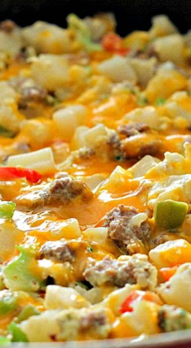 Egg, Potato and Sausage Skillet ~ A delicious breakfast or dinner