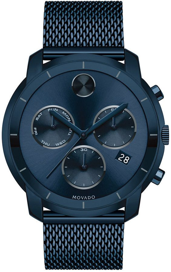 Movado Men's Swiss Chronograph Bold Ink Blue Ion-Plated Stainless Steel Bracelet Watch 44mm 3600403