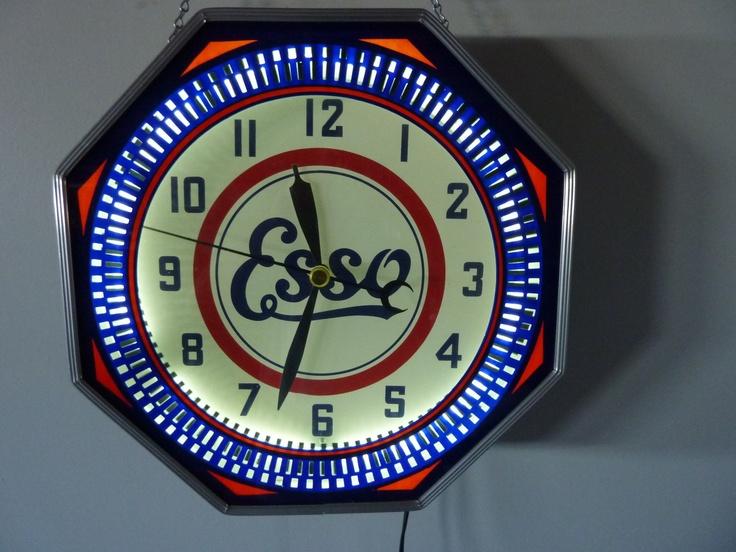 "Esso Vintage Clock  (18"" Neon Spinner Octagon Clock, Antique Gas Station Advertising Clocks, Oil, Gasoline)"