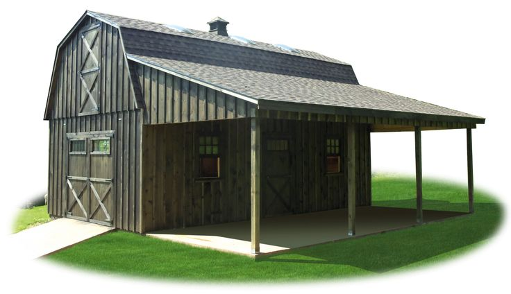 Two Story workshop package board n batten gambrel barn with lean to roof