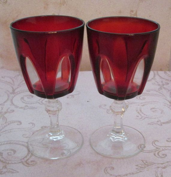 Red Glassware, 1970s, cristal d'arques, aperitif glasses, Luminarc, stemware, cordial glasses, footed glasses, sherry glass, gothic decor - aperitif for 2 with this sweet pair of vintage glassware - Luminarc Cristal D'Arques, made in France -  gorgeous with drama and a little bit gothic decor! - perfect for sherry, dessert wines, aperitif, cordial ... beautiful deep ruby colour and design, perfectly lovely addition to your festive table - $15.00