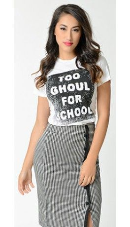 Too Ghoul For School Off White T-Shirt