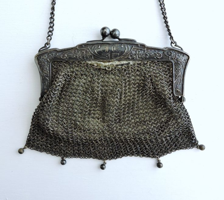 Antique Chain Mail Purse, German Silver Chain Link Handbag, Leather Lining Chatelaine Bag, Engraved Frame Victorian Metal Mesh Change Purse by ninthstreetvintage on Etsy