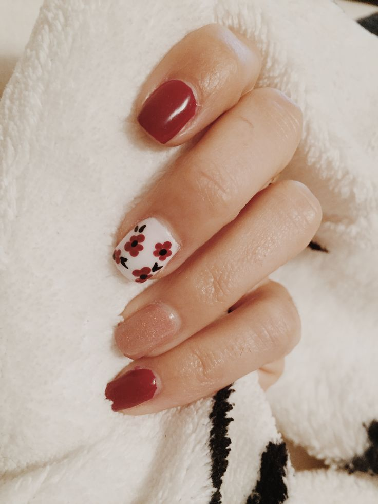 Mes mains | LA CATERINE #nails #autumb #fall #red #pink #flower #classy #fashion