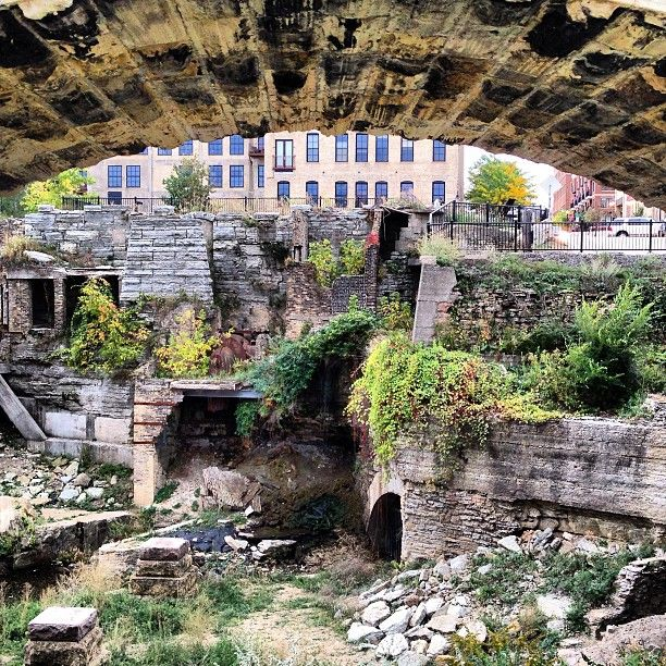 Mill Ruins Park - fun to explore while out at the Stone Arch Bridge. Lit up at night as well.