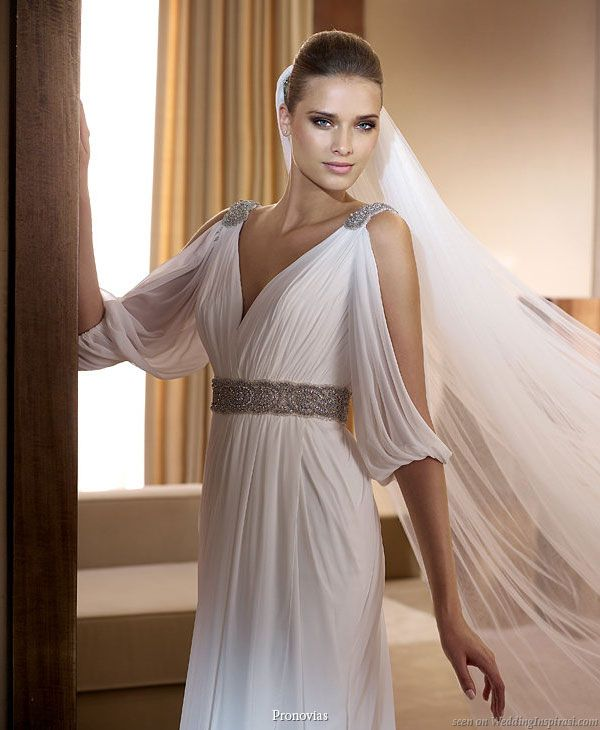 pronovias 2011 bridal gown collection famosa grecian style wedding dress with peekaboo drape sleeves
