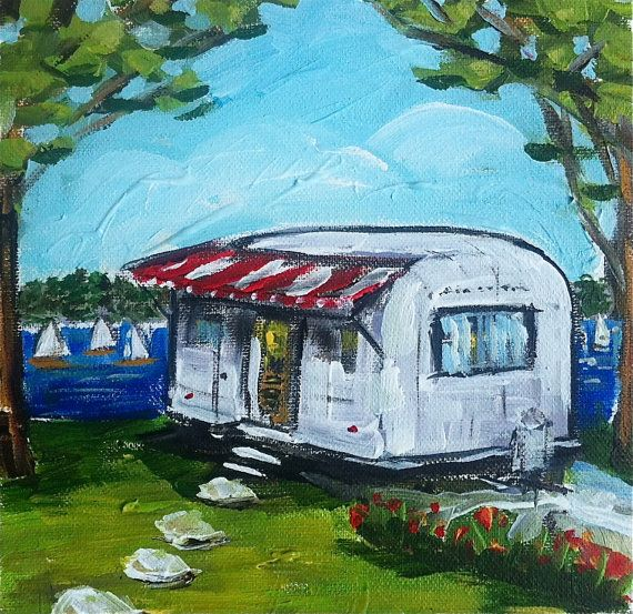 Airstream Painting On Canvas By Devinepaintings On Etsy