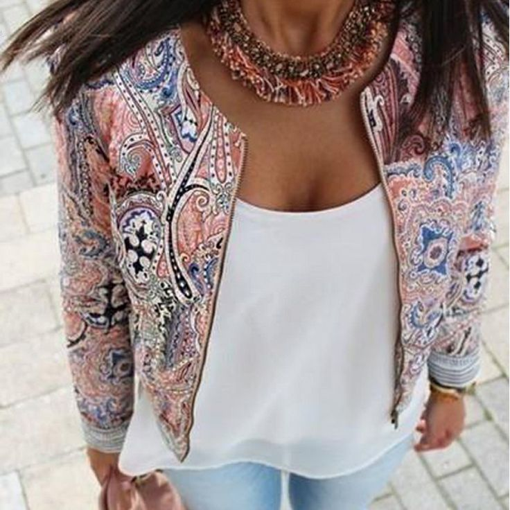 2016 New European and American style retro print round neck sport jackets women summer