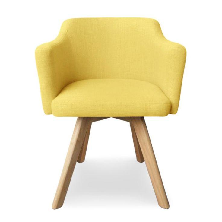 Sofa estilo escandinavo Dantes 1 plaza tela amarilla