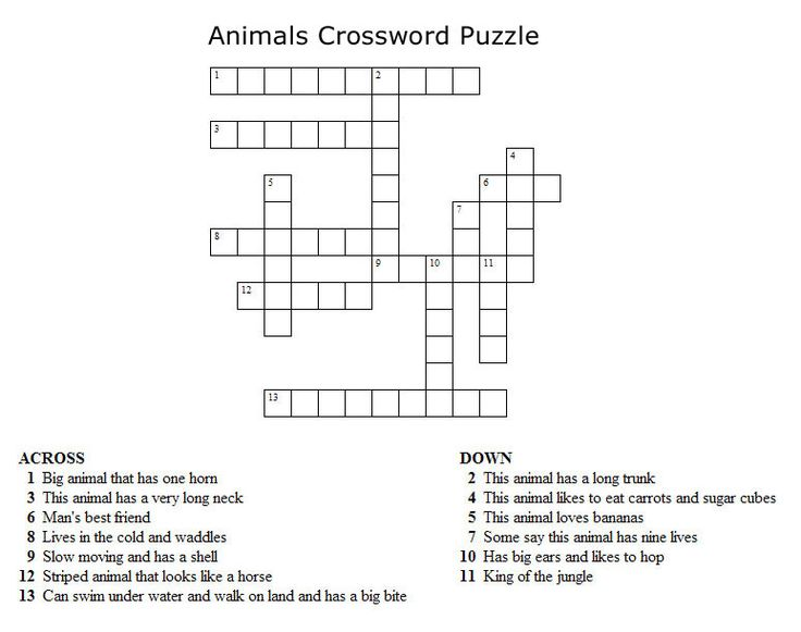 Kids Crossword Puzzles - Print your animals crossword puzzle.jpg puzzle at AllKidsNetwork.com