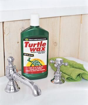 Car wax as sink polish: Polish faucets, sinks, tile, even shower doors with Turtle Wax, which leaves behind a protective barrier against water and soap buildup, so your hard-earned sparkle will last past the next tooth-brushing.